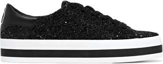 Alice + Olivia Ezra Appliqued Glittered Leather Platform Sneakers