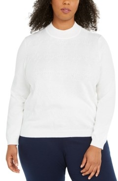 Alfred Dunner Plus Size Classics Mock-Neck Sweater