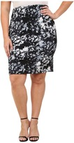 Vince Camuto Specialty Size Plus Size Floral Back Zip Scuba Pencil Skirt