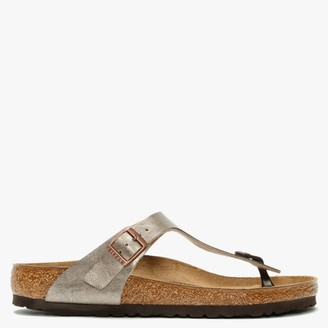 Birkenstock Gizeh Graceful Taupe Birko-Flor Toe Post Sandals