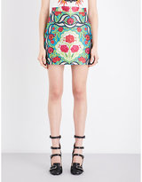 Gucci Floral-embroidered Knitted Skirt