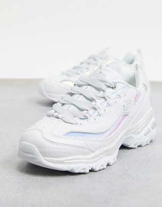 Skechers D'Lites Fash chunky sneakers in white and silver