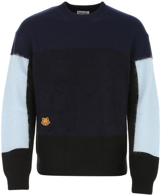 Kenzo Tiger Patch Colour-Block Knit Sweater