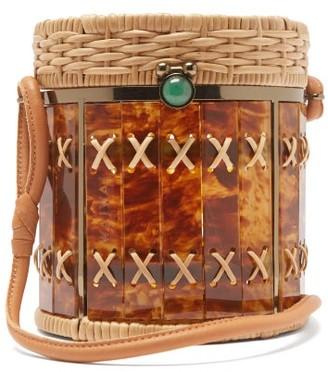 Wai Wai - Bongo Rattan And Acetate Bag - Brown Multi