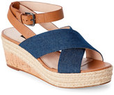 French Connection Light Indigo & Safari Open Toe Espadrille Wedge Sandals