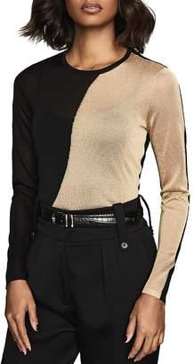 Reiss Adele Metallic Color-Blocked Sheer Knit Top