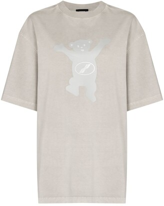 we11done teddy-bear print oversize T-shirt