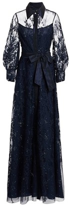Teri Jon by Rickie Freeman Lace Embellished Tie-Waist Maxi Shirtdress