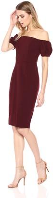 Betsy & Adam Women's Short Off The Shoulder Puff Sleeve Dress