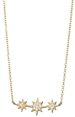 Anzie Aztec North Star Micro-Bar 14K Gold & Diamond Necklace