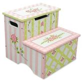 Teamson Crackled Rose Storage Step Stool