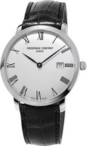 Frederique Constant FC306MR4S6 stainless steel and leather slimline watch