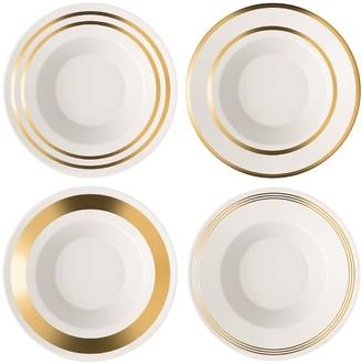LSA International Set Of 4 Gold Deco Assorted Soup Pasta Bowls - White/Gold