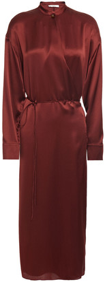 Vince Silk-satin Midi Wrap Dress