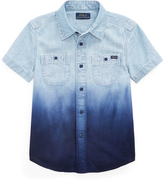 Ralph Lauren Kids Boy's Ombre Chambray Button-Down Shirt, Size 2-4