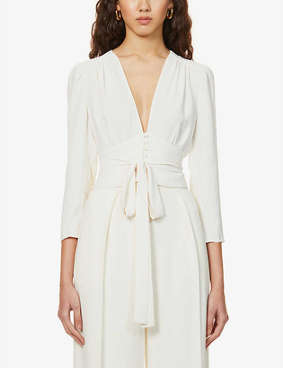 Reiss Alena gathered crepe blouse