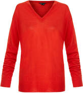 Theory Trulinda Scarlet Red V-Neck Wool-Blend Sweater