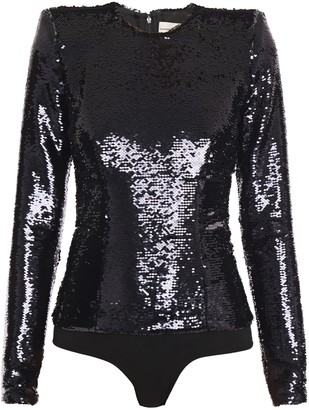 Alexandre Vauthier Sequined Crepe And Stretch-jersey Bodysuit