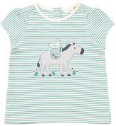 John Lewis Duck and Donkey Applique Striped T-Shirt, Blue/Cream
