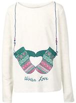 Fat Face Girls' Winter Love Long Sleeve T-Shirt, Ecru