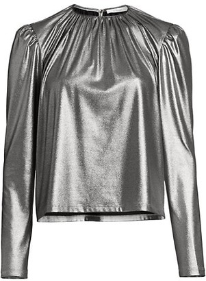 Derek Lam 10 Crosby Kary Metallic Crepe Blouse
