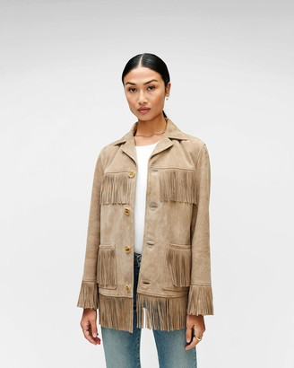 7 For All Mankind Fringe Suede Jacket in Tan
