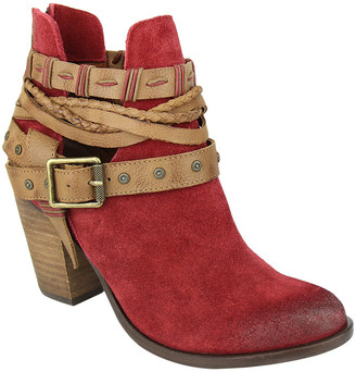 Naughty Monkey Women's Casual boots RED - Red Wrap-Around Strap Cuthbert Suede Ankle Boot - Women