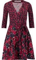 Diane von Furstenberg Printed Wool And Silk-Blend Jersey Mini Wrap Dress