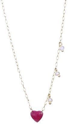 Meira T 14K Yellow Gold, Ruby & Seed Pearl Triplet Necklace