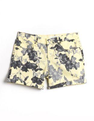 DKNY Floral Print Rolled-Hem Denim Shorts