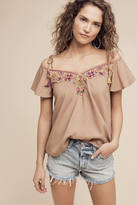 Blank Needlepoint Open-Shoulder Top
