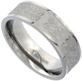 Sabrina Silver Titanium 7mm Wedding Band Celtic Knot Ring Flat Brushed Finish Background Comfort Fit, size 8