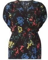 Dorothy Perkins Womens DP Curve Plus Size Black Ditsy Wrap Top- Black