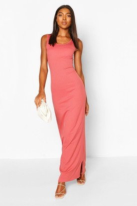 boohoo Tall Basic Rib Scoop Neck Maxi Dress