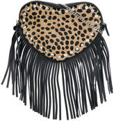 Twin-Set fringed leopard print cross-body bag