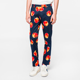 Paul Smith Men's Slim-Fit Navy Stretch-Cotton 'Peaches' Print Trousers