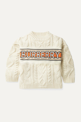 BURBERRY KIDS Ages 3 - 12 Jacquard-trimmed Cable-knit Wool And Cashmere-blend Sweater