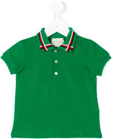 Gucci Kids - Web collar polo shirt - kids - Cotton/Spandex/Elastane - 3-6 mth