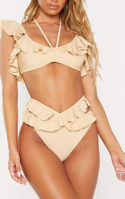 PrettyLittleThing Nude Tie Front Frill Bikini Top