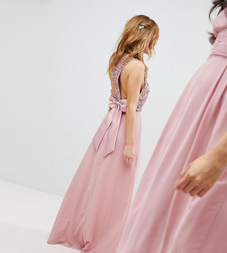 Maya Petite Sleeveless Sequin Bodice Maxi Dress With Cutout And Bow Back Detail