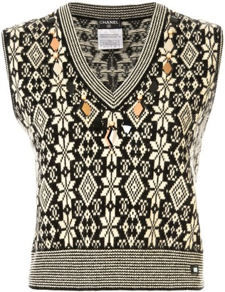 Chanel Pre Owned 2001s CC nordic pattern sleeveless knitted vest