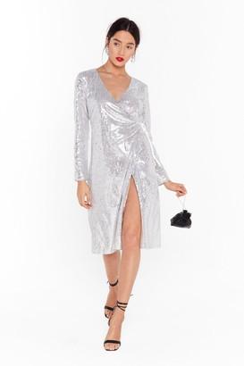 Nasty Gal Womens Sequin Them Over Wrap Midi Dress - Metallics - 8