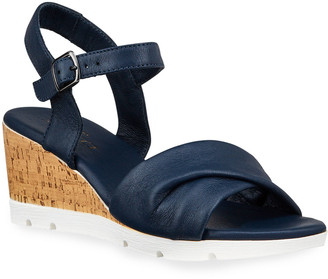 Sesto Meucci Mason Leather Cork Wedge Comfort Sandals