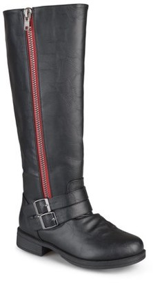 Brinley Co. Women's Knee-High Side-Zipper Buckle Riding Boot