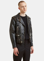 Saint Laurent Bouche Vintage Leather Motorcycle Jacket In Black