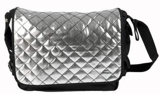 Little Company ci08.00 Nappy Bag, Messenger Bag, Colour: Black, Silver Ueberschlag with Stitching