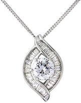 Chic Rhodium Plated Silver Open Pendant with a Central Cubic Zirconia Surrounding by Baguette Cut Cubic Zirconia on a Curb Chain of 46 cm