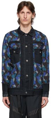 Sacai Black Denim Sun Surf Monstera Print Jacket