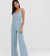 Little Mistress Tall cami strap wide leg jumpsuit with lace detail