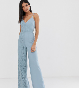 Little Mistress Tall cami strap wide leg jumpsuit with lace detail-Blue